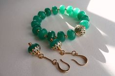 Summer bracelet,chrysoprase,  green bracelet, bracelet chrysoprase, green set, green earrings by TillJD on Etsy