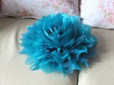 Jumbo Organza Flower Brooch Teal Fabric Flower by LoveMimosaFleur