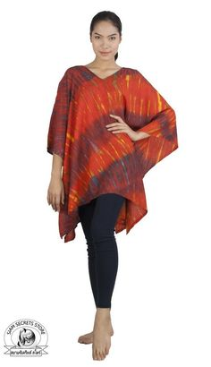 Siam Secrets One Size Tie Dye Poncho Cover-up Shawl Tunic Caftan Topper Orange ** To view further for this item, visit the image link. (This is an affiliate link) Beach Tunic, Sweatshirt Refashion, Orange Tie, African Wear, Sweaters For Women, Women's Sweaters, Summer Outfits, Tie Dye, Cover Up