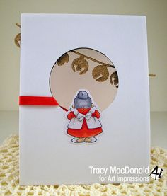 Art Impressions Rubber Stamps: Santa and Mrs. Mini Front and Back set BACK of handmade card.