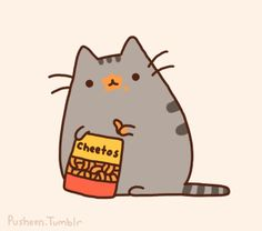 Pusheen the cat eating a bag of cheetos. This cat is chubby