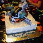 May the Force Be With You!  I made this cake for my little man who turned 6. He loves Boba Fett and his Slave I ship.