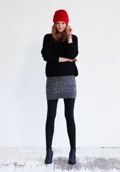Boucle Mini Skirt in Mottled Black from hush £50