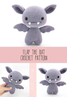 Cute little flap the bat amigurumi crochet pattern. Adorable little creepy bat to make for halloween! Crochet Pour Halloween, Halloween Crochet Patterns, Crochet Amigurumi Free Patterns, Crochet Animal Patterns, Stuffed Animal Patterns, Crochet Blanket Patterns, Crochet Stitches, Knitting Patterns, Crochet Animals