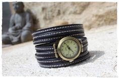 montre manchette cuir - woman watches