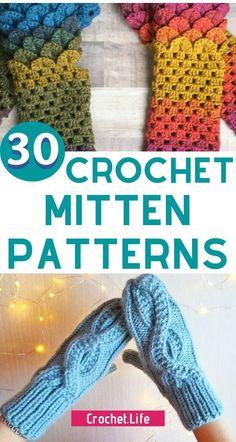 Crochet Mitten Patterns keep your hands warm all winter! Crochet Mittens Pattern, Diy Crochet Patterns, Loom Knitting Patterns, Crochet Projects, Hand Knitting, Stitch Patterns, Knitting Tutorials, Hat Patterns, Cute Crochet