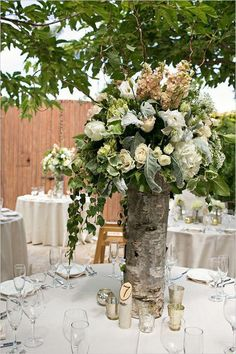 tall birch tree vases as table centerpieces Rustic Flower Arrangements, Rustic Wedding Centerpieces, Rustic Flowers, Wedding Arrangements, Wedding Decorations, Birch Centerpieces, Centerpiece Flowers, Birch Wedding, Floral Wedding