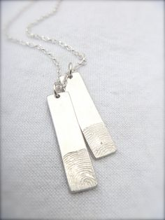 two sterling silverfingerprint tags, fingerprint jewellery, personalised jewellery, gift for him, gift for her, Memorial jewellery on Etsy, $205.80