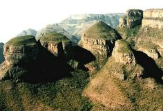 Three rondavels. Panorama route, Mpumalanga, South Africa, with a view over Blyde river Canyon.