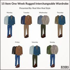 Rugged Interchangeable Wardrobe - dress sharp during the holidays with these outfit combinations. Big Men Fashion, Best Mens Fashion, Men's Fashion, Fashion Types, Fashion Guide, Fashion Advice, Fasion, Fashion Ideas, Rugged Style