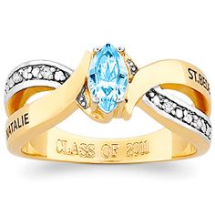 Our newest Freestyle class ring is a combination of style and function. Cast in yellow CELEBRIUM with a bright finish. Ring features a simulated marquise-cut birthstone nestled in the center of a two-tone setting, accented with genuine Diamonds. Greek Jewelry, Hand Jewelry, Jewelry Gifts, Jewelry Box, Jewelry Accessories, Handmade Jewelry, Jewellery, Class Rings For Girls, Senior Rings