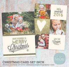 Christmas Card Template Gold Glitter by PaperLarkDesigns on Etsy