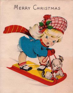 A sweetly cute 1940s Christmas greeting card. #vintage #Christmas #cards