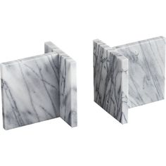 CB2 Set Of 2 Endiron Marble Bookends ($40) ❤ liked on Polyvore featuring home, home decor, small item storage, marble book ends, marble home decor, rock bookends, cb2 and marble bookends