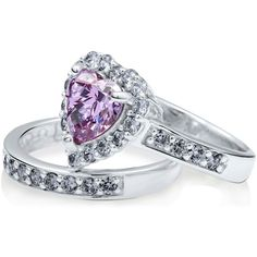 BERRICLE Sterling Silver 2.82 ct.tw Purple CZ Halo Heart Engagement... (1,225 MXN) ❤ liked on Polyvore featuring jewelry, rings, clear nose ring, sterling silver rings, sterling silver jewelry, cubic zirconia engagement rings and round cut engagement rings