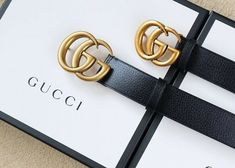 6f7e7da15c94 Leather Gucci Belt With Box - Vintage Belt Gold Buckle - Size : 80 To 130