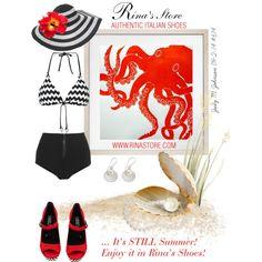It's Still Summer, Enjoy it in Rina's Shoes! Italian Shoes, Enjoy It, Sun Hats, Be Still, Rooster, Flowers, Polyvore, Summer, Summer Time