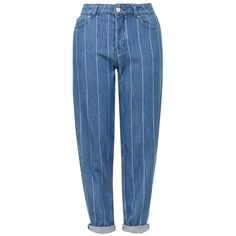 Women's Topshop Stripe High Rise Boyfriend Jeans ($37) ❤ liked on Polyvore featuring jeans, pants, bottoms, jeans/pants, pantaloni, boyfriend fit jeans, high waisted denim jeans, high-waisted jeans, cropped jeans and cuffed jeans