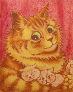 Cat ARt - I'm having a bit of a Louis Wain moment. They remind me of my mom who collected his work.