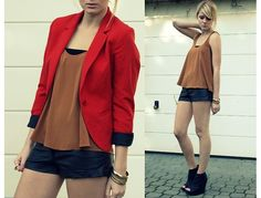 H Red Blazer, Topshop Top, H Leather Shorts, H Bracelets, Jeffrey Campbell Leather Wedges