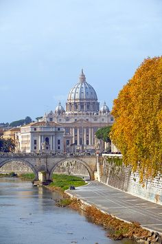 St Peter's From The Tiber, Italy