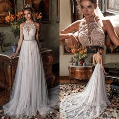 Romantic Modified a Line Wedding Dresses 2018 Julie Vino Bridal Sleeveless Illusion Halter Sweetheart Open Back Chapel Train Wedding Gown Overskirt Evening Dress Mermaid Wedding Dress Country Wedding Dress Online with $179.43/Piece on Alegant_lady's Store   DHgate.com