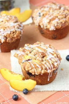 Blueberry Peach Cobbler Muffins