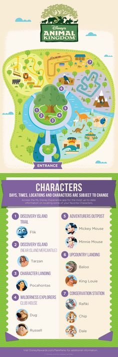 Disney's Animal Kingdom® Character Experience Guide This map to the classic Disney Characters around Disney's Animal Kingdom® takes you straight to some wild and unforgettable encounters! Walt Disney World, Disney World Tipps, Disney World Florida, Disney World Tips And Tricks, Disney Tips, Disney World Vacation, Disney Fun, Disney Vacations, Disney Parks