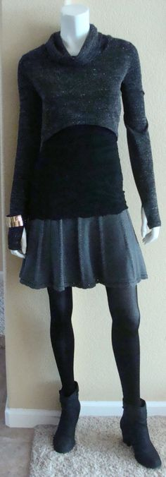 Daily Look: CAbi Fall '14 Femme Skirt, Wear-With-All-Cami and Glee Pullover with black tights and booties.  This might be one of my favorite looks ever!