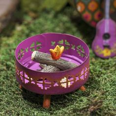 Gypsy Garden by Genevieve Gail.  Image link goes to purchasing at factorydirectcraft.com.   Mini Garden - Fairy Garden - Camp Fire - Guitar - Dollhouse