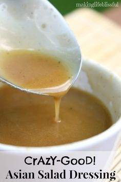 CRAZY-GOOD Asian Salad Dressing. I could drink this stuff for sure! It's THE BEST oriental salad dressing ever!