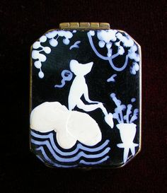 Watering the Flowers Hand Painted Powder Compact.