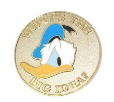 LE Disney Auction Pin✿Donald Duck Gold Coin Medallion What's the Big Idea? Rare #Disney