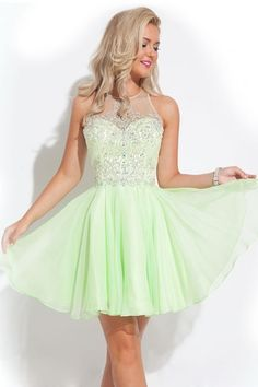 2016 Scoop Homecoming Dresses A-Line Short/Mini With Beads Chiffon - Homecoming Dresses