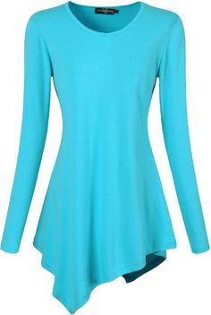 This style is awesome jeansian Women's Handkerchief Hem Long Sleeves Tunic Tees T-Shirts JWT001 LightBlue M