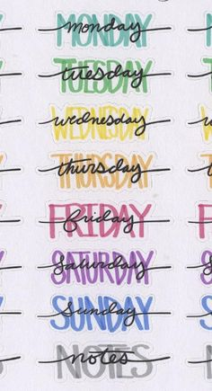 Hand Drawn Bullet Journal (BUJO) Style Weekly Headers for your planner. Each sheet contains 4 sets of Weekday Names and Notes Headers. Each Sticker is approx inches wide. Due to the hand drawn nature of these stickers the size will have slight variations. Bullet Journal Headers, Bullet Journal Banner, Bullet Journal 2019, Bullet Journal Notebook, Bullet Journal Ideas Pages, Bullet Journal Inspiration, Bullet Journal Hand Lettering, Bullet Journals, Bullet Journal Ideas Handwriting