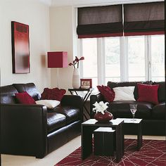 Chocolate brown and deep red living room. I love this color of red and was trying to find a way to incoperate it into one of the main rooms in my future house