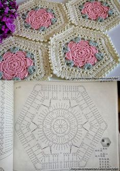 Transcendent Crochet a Solid Granny Square Ideas. Inconceivable Crochet a Solid Granny Square Ideas. Hexagon Pattern, Granny Square Crochet Pattern, Crochet Diagram, Crochet Stitches Patterns, Crochet Chart, Crochet Squares, Crochet Motif, Crochet Designs, Knitting Patterns