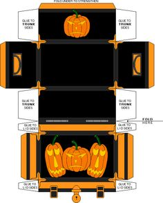 Miniature Halloween Printables | Made using trunk template from Jim's Dollhouse Pages.