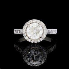 1.57 Carat GIA Round Brilliant Diamond Solitaire Platinum Ring