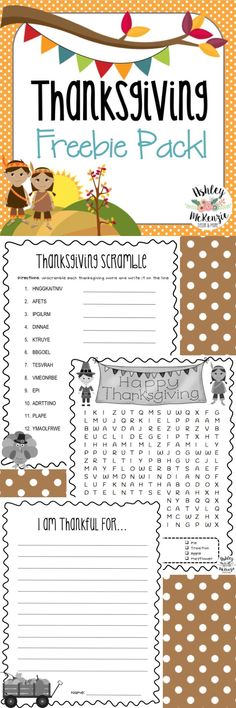 Thanksgiving Activities Freebie! Wordsearch, Word Scramble, & Writing Prompt! Follow to see more free and inexpensive teaching resources: https://www.pinterest.com/phillies8/