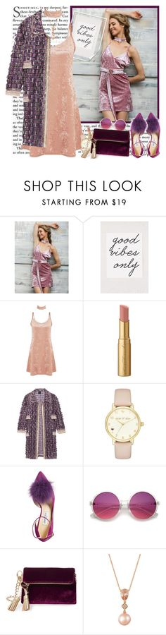 """""""Velvet Dress"""" by fashionistlady ❤ liked on Polyvore featuring Urban Outfitters, Too Faced Cosmetics, Anna Sui, Kate Spade, Jimmy Choo, Steve Madden and LE VIAN"""