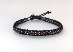 Playful beaded bracelet with beads in dark purple on black cotton cord, friendship bracelet, handmade, boho chic Boho, Wrap Bracelets, Vintage, Etsy, Jewelry, Fashion, Black Pearls, Handmade Gifts, Handmade