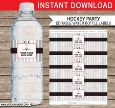 Hockey Party Water Bottle Labels | Red and Black | Birthday Party Printable Decorations | Editable DIY Template | $3.00 INSTANT DOWNLOAD via SIMONEmadeit.com