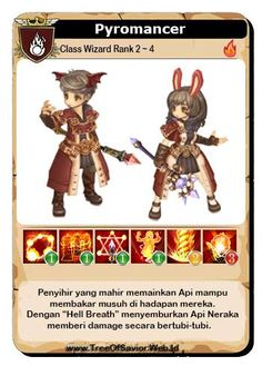Tree Of Savior [Pyromancer] Wizard. This Card create by https://www.facebook.com/wibowo88  #TreeOfSavior #IMCGAMES #gemscool