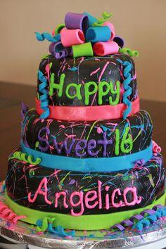 Neon splatter paint cake. 1980's cake.