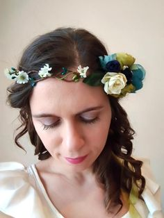 Flower crown hair wreath bridal crown spring by PrettyVintages