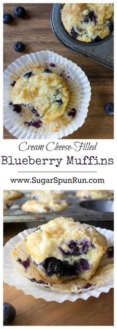 Soft, fluffy blueberry muffins with a rich cream cheese and streusel topping