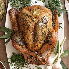 Herb-Roasted Turkey with White Wine Gravy #thanksgiving #turkey #healthythanksgiving #holiday