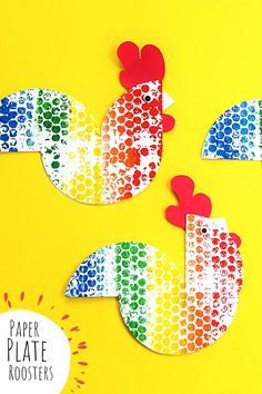 Make colorful roosters with paper plates! Animal Crafts For Kids, Fun Crafts For Kids, Craft Activities For Kids, Play Based Learning, Red Paper, Basic Shapes, Hands On Activities, Roosters, Creative Thinking